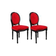 Lot de 2 chaises baroque louis xvi noir medaillon en - Chaise velours rouge ...