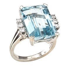 Aquamarine Diamond Gold Ring | From a unique collection of vintage cocktail rings at https://www.1stdibs.com/jewelry/rings/cocktail-rings/