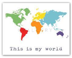 World Map Children decor Kids wall art for children by Wallfry, $22.00