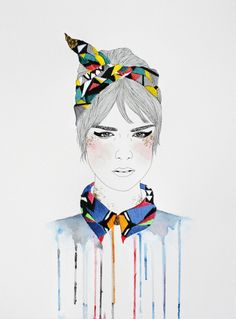 Fashion illustrations with embroidered accessories to keep the cold at bay