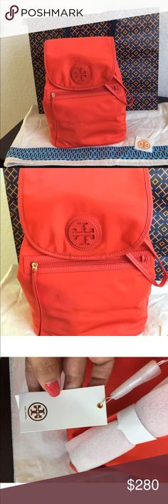 NWT TORY BURCH Nylon Backpack Poppy Red NWT TORY BURCH Nylon Backpack Poppy Red Retail Price $ 325  NWT TORY BURCH NYLON BACKPACK POPPY RED  INCLUDES: Dust Bag  Tissue paper Striker  Shopping bag Tory Burch Bags Backpacks