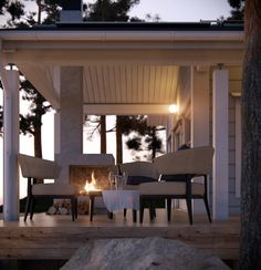 What a perfect evening. Honka holiday home Syli. Cozy Cottage, Cottage Homes, Cottage Ideas, Outside Room, Cottage Interiors, House In The Woods, Log Homes, Home Fashion, Home Remodeling