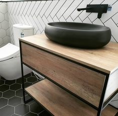 Julian stone basil in black Matt. Basil, Vanity, Stone, Bathroom, Black, Dressing Tables, Washroom, Powder Room, Rock