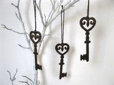 Christmas Decor - Leather Key Ornaments - Christmas ornaments - set of 3 - gift tie on, ornament. $8.00, via Etsy.