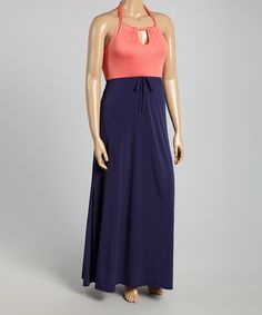 Look what I found on #zulily! Coral & Navy Halter Maxi Dress - Plus by GLAM #zulilyfinds