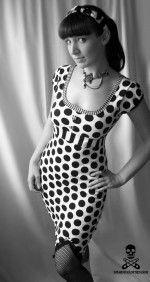 Hedy monochromatic polka dot wiggle rockabilly dress by SmarmyClothes.com
