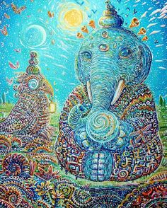 By the amazing Chris Sukut   acidmath.me  #elephant #parrot #sun #sunshine #underwater #butterfly #butterflies #meditation #painting #drawing #universe #galaxy #art #thirdeye #psychedelicart #trippy #visionary #spiritual #psychedelic #mushrooms #dmt #lsd #marijuana