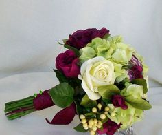 Winter Wedding Bouquet Burgundy green Silk Flowers Fall Autumn Bridal Brides Maids Bouquets. $84.00, via Etsy.