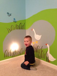 Great farm mural for toddler or baby room. Wall decor by My Wonderful Walls www.mywonderfulwalls.com