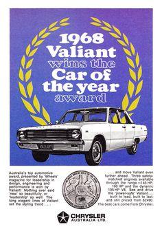 1968 VE Chrysler Valiant Car Of The Year Award Aussie Original Magazine Advertisement Australian Muscle Cars, Aussie Muscle Cars, Chrysler Valiant, Plymouth Valiant, Australian Vintage, Chrysler New Yorker, Van Car, Chrysler Cars, Car Brochure