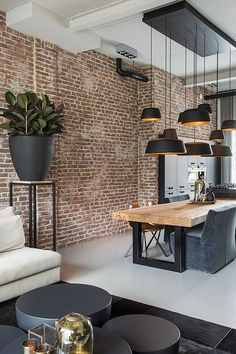 Modern interior design brilliant loft interior designs that inspire you . - Modern interior design brilliant loft interior designs that inspire you - Dining Room Sets, Cosy Dining Room, Luxury Dining Tables, Patio Dining, Patio Table, Dining Decor, Dining Chairs, Lounge Decor, Table Seating