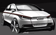 First the BMW concept, and now the electric Audi concept car are expected to electrify the Frankfurt Motor Show with laser headlights and taillights. Car Design Sketch, Car Sketch, Bike Sketch, Audi A1, Future Electric Cars, Electric Vehicle, Volkswagen Up, Automobile, Car Makes