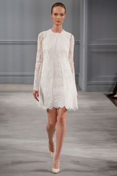 Monique LHuillier - Spring 2014  TAGS:Knee-length, Long sleeves, Pattern, White, Monique Lhuillier, Lace, Elegant, Modern