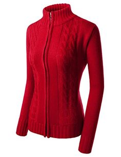 WTNC16 Unisex Twist Knitted Turtle Neck ZipUp Long Sleeve Cardigan RED XSmallTag size M *** You can find out more details at the link of the image.