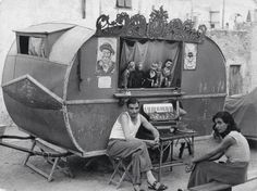 Renato Fioravanti Gypsy Caravan, Gypsy Wagon, Gypsy Trailer, Vintage Gypsy, Vintage Circus, Weird Vintage, Marionette Puppet, Puppets, Vintage Photographs