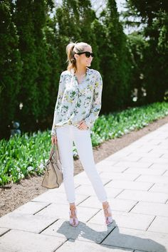 floral and white spring fashion outfit