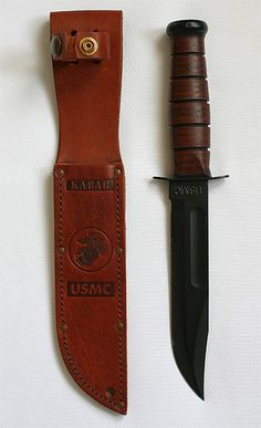 Marine Corps Mark 2 combat knife, also known as the KA-BAR.US Marine Corps Mark 2 combat knife, also known as the KA-BAR. Ka Bar Knives, Cool Knives, Knives And Tools, Knives And Swords, Bushcraft, Combat Knives, Military Knives, Us Marine Corps, Swords And Daggers