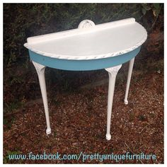 """""""#asap #anniesloan #blue #chalkpaint #demilune #distressed #distressedfurniture #etsy #forsale #halfmoon #instahome #loveit #morethanpaint #paintedfurniture #prettyuniquefurniture #refurbished #shabby #shabbychic #table #tiffany #tiffanyblue #upcycled #vintage #oldwhite"""" Photo taken by @prettyuniquefurniture on Instagram, pinned via the InstaPin iOS App! http://www.instapinapp.com (01/26/2015)"""