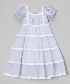 Blue Ruffle Tiered Puff-Sleeve Dress - Girls #zulily #zulilyfinds