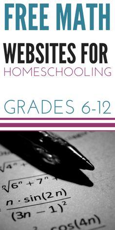 Free Math Websites for Homeschooling Grades 6-12 | Upside Down Homeschooling | Bloglovin'