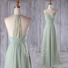 2017 Mint Chiffon Bridesmaid Dress, Ruched Bodice Wedding Dress, Spaghetti Straps Prom Dress, Lace Back Formal Dress Floor Length (H403)