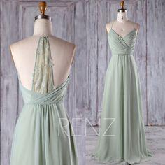 2017 Mint Chiffon Bridesmaid Dress, Ruched Bodice Wedding Dress, Spaghetti Straps Prom Dress, Lace Back Formal Dress Floor Length (H403)