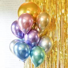 Party Balloons Graduation Balloons Birthday Balloons Graduation Decor Metallic Balloons Chrome Balloons Bouquet of 13 balloons multicolor - Decorationn Graduation Balloons, Graduation Decorations, Birthday Balloons, 30th Balloons, Balloon Backdrop, Balloon Garland, Balloon Decorations, Balloon Ideas, Girls Birthday Party Themes