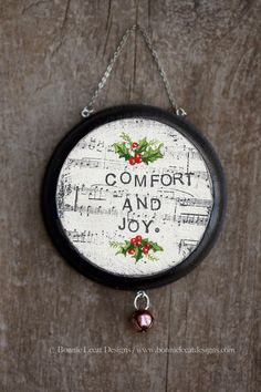 Items similar to Christmas Ornaments, Comfort and Joy Ornament, Hand Painted Christmas Decorations, Handmade Rustic Christmas Decor on Etsy Christmas Ornaments To Make, Rustic Christmas, Handmade Christmas, Vintage Christmas, Christmas Decorations, Burlap Gift Bags, Joy Sign, Block Painting, Christmas Wall Hangings