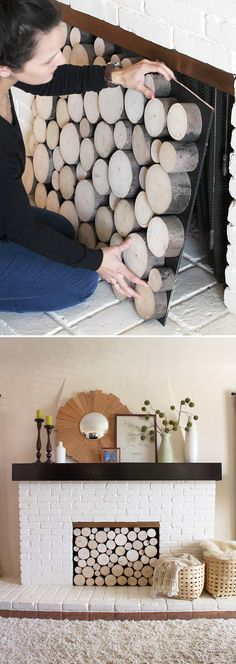 DIY Faux Stacked Wood Fireplace- if you don't have a working fireplace or on. DIY Faux Stacked Wood Fireplace- if you don't have a working fireplace or one in use Fireplace Facade, Wood Fireplace, Fireplace Filler, Empty Fireplace Ideas, Fireplace Candles, Basement Fireplace, Fireplace Makeovers, Decorative Fireplace, Fireplace Cover Up