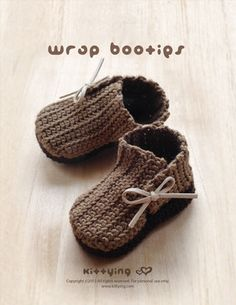 Crochet Pattern Baby Booties Wrap Baby Booties by meinuxing