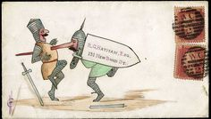 1865 (April 1st), outstanding water colour illustrated envelope by Henry Culshaw and probably the finest of his work, depicting two Knights fighting, one holding a shield on which the address is written, the same Knight with a broken sword but vanquishing his opponent by the somewhat novel method of spearing his chest with his elongated nose, sent within London on April Fool's Day with 1864–79