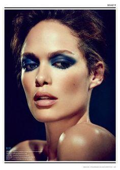 Love this smoky blue eye! For ES Magazine, Photographer Jon Gorrigan, Makeup by Alex Babsky #makeup #smoky eye
