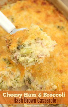 Cheesy Ham & Broccoli Hash Brown Casserole