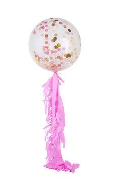 Our glorious jumbo balloon with fringe sits proudly as one of our favourite and most beloved products! She is elegant and fun, colourful and versatile. This one's a beauty!  Our Pink Shimmer Jumbo confetti balloon with pink fringe. Jumbo balloon comes flat and ready to be inflated and the crepe fringing comes flat and cut, ready for you to make the fringe and attach with supplied ribb  Little Boo-Teek - Poppies for Grace Online   Jumbo Pink Shimmer Confetti Balloons   Designer Party Supplies