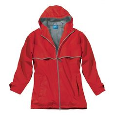 Charles River Rain Jacket: Red Where our UGA fans at??  Grab this rain jacket and let us add a black monogram!  Look fabulous on those rainy Athens days!