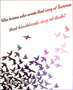 """""""Who knows who wrote that song of Summer, that blackbirds sing at dusk?"""" Sunset Kate Bush quote/lyrics."""