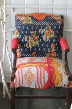 Kantha Fabric Vintage Upholstered Chair