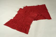 """Award for Excellence in Textiles: """"Red Scarf"""" by Gwen Klypak -- 2015; Merino wool, silk, Sodium Alginate; handweaving, felting, applying resists; 150 x 38-43; Value: $400.00; Not For Sale. Hand Craft Work, Red Scarves, Felting, Merino Wool, Textiles, Silk, Silk Sarees, Textile Art, Cloths"""