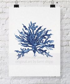 This is a print of my original watercolour painting of sea coral in a deep denim blue, and was inspired by my love of vintage botanical specimens.  Image size measures 8x10, centered on 8.3x11.7 paper (A4). I use 300gsm, cold-pressed aquarelle paper for all prints, to retain as much of the depth and detail of the original painting as possible. All images are copyright, so please do not use them without my permission. All prints come unframed, without the watermark shown.  Thanks for stopping…