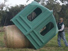 The Hayhut is an all weather, enclosed horse hay feeder which accomodates round bales, eliminates waste & reduces cost. Horse Paddock, Horse Stables, Dream Stables, Horse Barns, Dream Barn, Hay Feeder For Horses, Horse Feeder, Hay Hut, Round Bale Hay Feeder