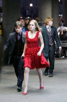 Daniel Radcliffe as Harry Potter, Emma Watson as Hermione Granger, & Rupert Grint as Ron Weasley - Harry Potter and the Deathly Hallows: Part 1