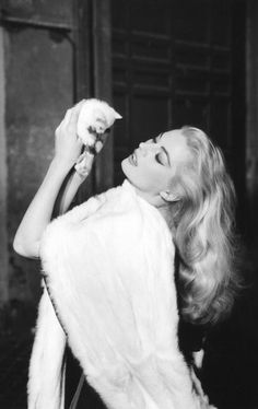 Anita Ekberg in 'La Dolce Vita' -directed by Federico Fellini Anita Ekberg, Hollywood Stars, Classic Hollywood, Old Hollywood, Hollywood Glamour, Hollywood Icons, Marcello Mastroianni, Cinema Video, World Cat Day