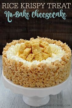 This Rice Krispy Treat No Bake Marshmallow Cheesecake is amazing! A total crowd pleaser, it's super easy to make and no-bake! Gooey, fluffy, creamy and smooth with that wonderful marshmallow flavor! Imagine the possibilities, fruit pebble rkt,birthdaycake flavored with sprinkles,mix dried strawberries into ...endless!!