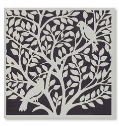 Signature Stencils - Birds in a Tree 6612 from Joanna Sheen Stencils, Stencil Art, Stencil Designs, Mosaic Patterns, Painting Patterns, Paper Cutting Machine, Paper Cutting Templates, Laser Cutter Projects, Laser Cut Metal