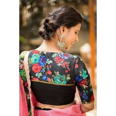 House Of Blouse Black floral blouse with yoke detailing