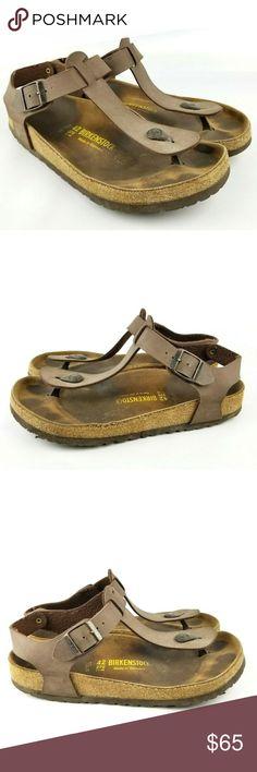 19371949290e Birkenstock Kairo Brown Leather Sandal Ankle Strap Birkenstock Kairo Brown  Leather Sandal Ankle Strap Flip Flop 42 EU 11 US Shoe.