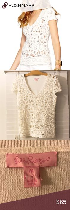 """Lilly Pulitzer white crotchet top Lilly Pulitzer """"Jamie Battenburg"""" lace sweater top. Beautiful detailing and in great condition. Lilly Pulitzer Tops"""