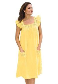 Cotton Crochet-Trim Lounger by Comfort Choice Sari Blouse Designs, Dress Neck Designs, Modest Dresses Casual, Simple Dresses, Cotton Crochet, Crochet Trim, Night Gown Dress, Nightgown Pattern, Night Dress For Women