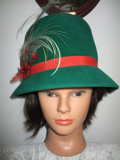 Women's  Hat-Green Wool  Red Band  Feathers by OneMoeTimeVintage