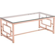 zuo® cage coffee table | coffee, rose and gold